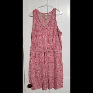 Faded Glory XXL Tie-Waist Coral Patterned Dress